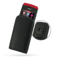 Nokia Asha 305 306 Pouch Case with Belt Clip (Black) PDair Premium Hadmade Genuine Leather Protective Case Sleeve Wallet