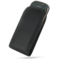 Leather Vertical Pouch Belt Clip Case for Nokia C7 (Black)