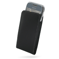 Nokia E72 Pouch Case with Belt Clip (Black) PDair Premium Hadmade Genuine Leather Protective Case Sleeve Wallet