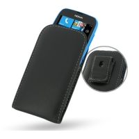 Nokia Lumia 610 Pouch Case with Belt Clip (Black) PDair Premium Hadmade Genuine Leather Protective Case Sleeve Wallet