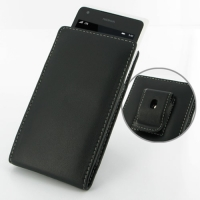Nokia Lumia 900 Pouch Case with Belt Clip PDair Premium Hadmade Genuine Leather Protective Case Sleeve Wallet