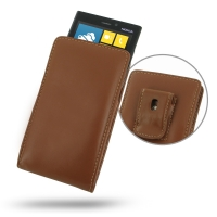 Nokia Lumia 920 Pouch Case with Belt Clip (Brown) PDair Premium Hadmade Genuine Leather Protective Case Sleeve Wallet