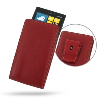 Nokia Lumia 920 Pouch Case with Belt Clip (Red) PDair Premium Hadmade Genuine Leather Protective Case Sleeve Wallet
