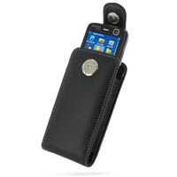 Nokia N73 Pouch Case with Belt Clip (Black) PDair Premium Hadmade Genuine Leather Protective Case Sleeve Wallet