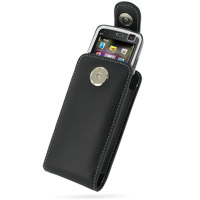 Nokia N77 Pouch Case with Belt Clip (Black) PDair Premium Hadmade Genuine Leather Protective Case Sleeve Wallet