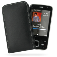 Nokia N96 Pouch Case with Belt Clip (Black) PDair Premium Hadmade Genuine Leather Protective Case Sleeve Wallet