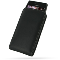 Nokia X7-00 Pouch Case with Belt Clip (Black) PDair Premium Hadmade Genuine Leather Protective Case Sleeve Wallet