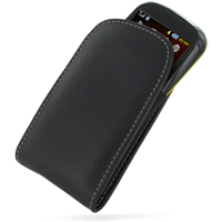 Leather Vertical Pouch Belt Clip Case for Samsung B3210 CorbyTXT (Black)