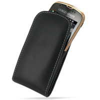 Leather Vertical Pouch Belt Clip Case for Samsung B7620 Giorgio Armani (Black)