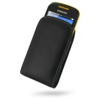 Leather Vertical Pouch Belt Clip Case for Samsung Corby II S3850 (Black)