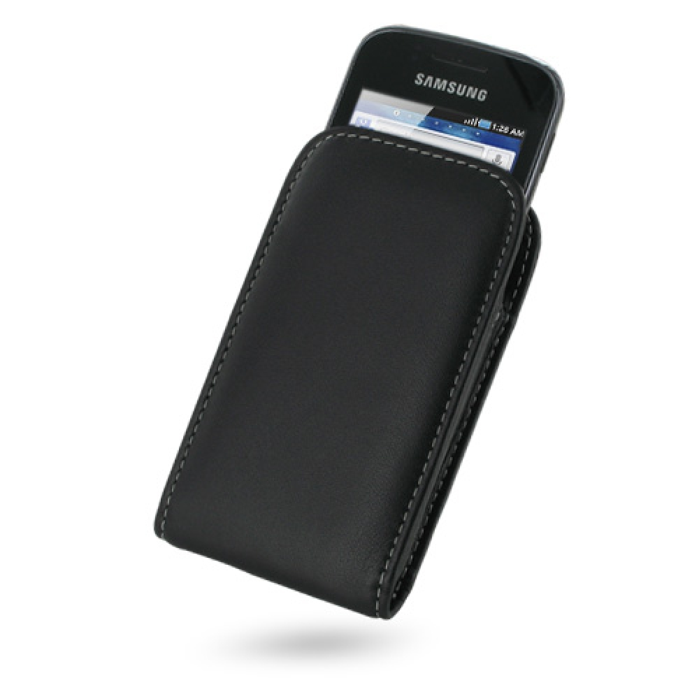 Samsung Galaxy Gio Pouch Case with Belt Clip (Black) PDair Premium Hadmade Genuine Leather Protective Case Sleeve Wallet