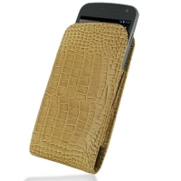 Leather Vertical Pouch Belt Clip Case for Samsung Galaxy Nexus GT-i9250 SCH-i515 (Brown Crocodile Pattern)