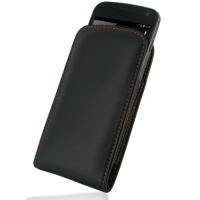 Leather Vertical Pouch Belt Clip Case for Samsung Galaxy Nexus GT-i9250 SCH-i515 (Orange Stitch)