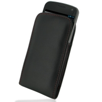 Leather Vertical Pouch Belt Clip Case for Samsung Galaxy Nexus GT-i9250 SCH-i515 (Red Stitch)