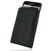 Leather Vertical Pouch Belt Clip Case for Samsung Galaxy Note GT-N7000 (Green Stitch)