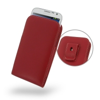Leather Vertical Pouch Belt Clip Case for Samsung Galaxy Note 2 | Samsung Galaxy Note2 | GT-N7100 (Red)