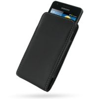 Samsung Galaxy R Pouch Case with Belt Clip (Black) PDair Premium Hadmade Genuine Leather Protective Case Sleeve Wallet