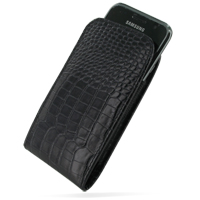 Samsung Galaxy S / Plus Pouch Case with Belt Clip (Black Croc Pattern) PDair Premium Hadmade Genuine Leather Protective Case Sleeve Wallet