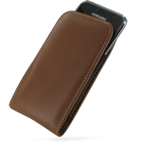 Samsung Galaxy S / Plus Pouch Case with Belt Clip (Brown) PDair Premium Hadmade Genuine Leather Protective Case Sleeve Wallet