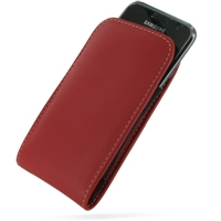Samsung Galaxy S / Plus Pouch Case with Belt Clip (Red) PDair Premium Hadmade Genuine Leather Protective Case Sleeve Wallet