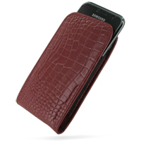 Samsung Galaxy S / Plus Pouch Case with Belt Clip (Red Croc Pattern) PDair Premium Hadmade Genuine Leather Protective Case Sleeve Wallet