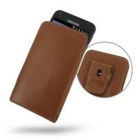 Leather Vertical Pouch Belt Clip Case for Samsung Galaxy S II Epic 4G Touch SPH-D710 (Brown)