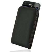 Leather Vertical Pouch Belt Clip Case for Samsung Galaxy S II Epic 4G Touch SPH-D710 (Orange Stitch)