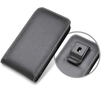 Samsung Galaxy S2 WiMAX Pouch Case with Belt Clip (Black) PDair Premium Hadmade Genuine Leather Protective Case Sleeve Wallet