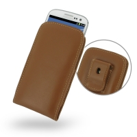 Leather Vertical Pouch Belt Clip Case for Samsung Galaxy S III S3 GT-i9300 (Brown)