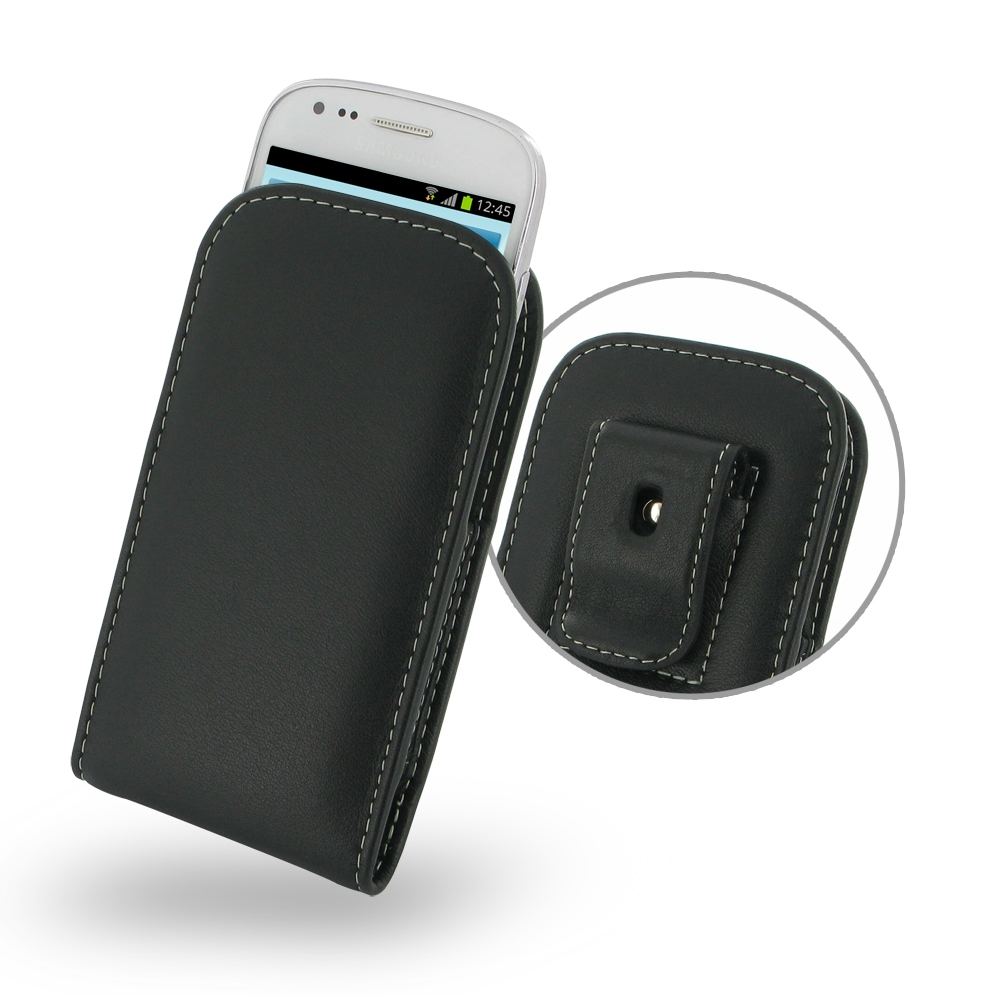 low priced e302f 356a8 Leather Vertical Pouch Belt Clip Case for Samsung Galaxy S III S3 Mini  GT-i8190