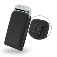 Samsung Galaxy S3 Mini Pouch Case with Belt Clip PDair Premium Hadmade Genuine Leather Protective Case Sleeve Wallet