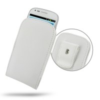Leather Vertical Pouch Belt Clip Case for Samsung Galaxy S III S3 Mini GT-i8190 (White)