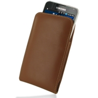 Samsung Galaxy S WiFi 5.0 Pouch Case with Belt Clip (Brown) PDair Premium Hadmade Genuine Leather Protective Case Sleeve Wallet