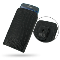 Samsung Galaxy S4 Active Pouch Case with Belt Clip (Black Croc) PDair Premium Hadmade Genuine Leather Protective Case Sleeve Wallet
