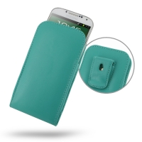 Leather Vertical Pouch Belt Clip Case for Samsung Galaxy S4 SIV LTE GT-i9500 GT-i9505 (Aqua)