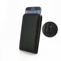 Leather Vertical Pouch Belt Clip Case for Samsung Galaxy S6 (Black Pebble Leather/Red Stitch)