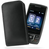 Leather Vertical Pouch Belt Clip Case for Samsung SGH-D880 (Black)
