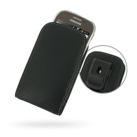 Leather Vertical Pouch Belt Clip Case for Samsung Star Deluxe Duos GT-S5292 (Rex90)