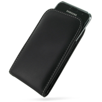 Leather Vertical Pouch Belt Clip Case for Samsung Vibrant Galaxy S SGH-T959 (Black)
