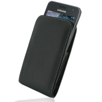 Samsung Wave M Pouch Case with Belt Clip (Black) PDair Premium Hadmade Genuine Leather Protective Case Sleeve Wallet