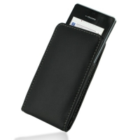 Leather Vertical Pouch Belt Clip Case for Sharp AQUOS PHONE f SH-13C (Black)