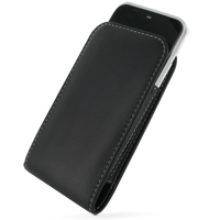 Leather Vertical Pouch Belt Clip Case for Sharp IS03 (Black)