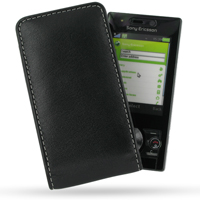 Sony Ericsson G705 Pouch Case with Belt Clip (Black) PDair Premium Hadmade Genuine Leather Protective Case Sleeve Wallet