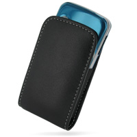 Sony Ericsson T707 Pouch Case with Belt Clip (Black) PDair Premium Hadmade Genuine Leather Protective Case Sleeve Wallet