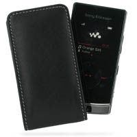 Sony Ericsson W980 Pouch Case with Belt Clip (Black) PDair Premium Hadmade Genuine Leather Protective Case Sleeve Wallet