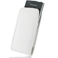 Sony Ericsson Xperia Ray Pouch Case with Belt Clip (White) PDair Premium Hadmade Genuine Leather Protective Case Sleeve Wallet
