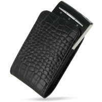Leather Vertical Pouch Belt Clip Case for Sony Ericsson Xperia X10 Mini (Black Crocodile Pattern)