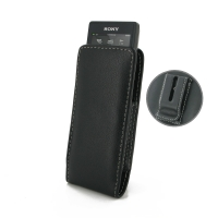 Sony Walkman NW-A10 Pouch Case with Belt Clip PDair Premium Hadmade Genuine Leather Protective Case Sleeve Wallet
