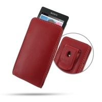Sony Walkman NWZ-F805 F806 F804 Pouch Case with Belt Clip (Red) PDair Premium Hadmade Genuine Leather Protective Case Sleeve Wallet
