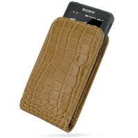 Leather Vertical Pouch Belt Clip Case for Sony Walkman NWZ-X1050 NWZ-X1060 NWZ-X1000 (Brown Crocodile Pattern)